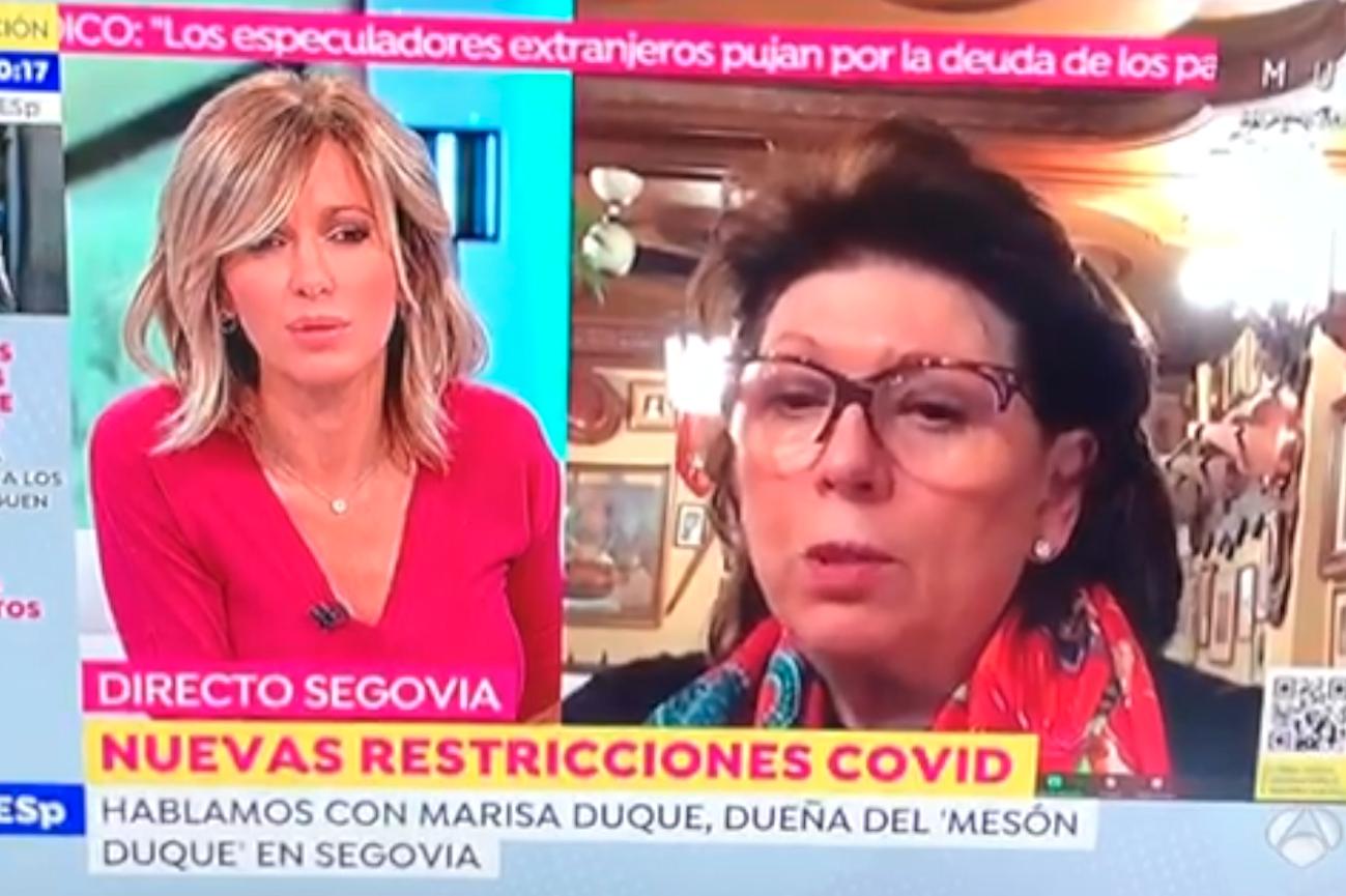 Marisa Duque explica a Susana Griso lo que supone el cuarto cierre de la hostelería