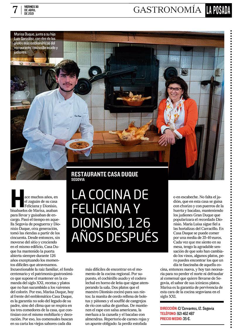 La cocina de Dionisio y Feliciana, 126 años después